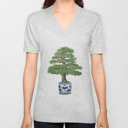 Bonsai tree, green Unisex V-Neck
