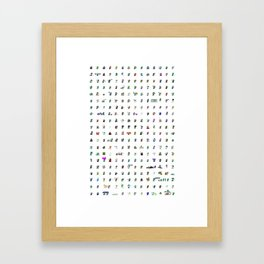 90's Pop Culture Pixel Gumby Things Framed Art Print