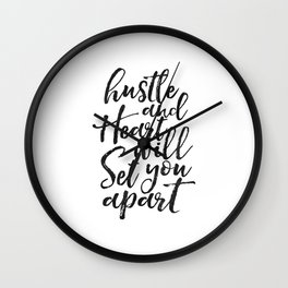 Printable Poster, hustle Hard,hustle quote,office decor,quote prints,inspirational poster,wall art Wall Clock