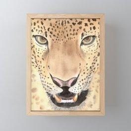 Leopard Portrait, Watercolour art Framed Mini Art Print