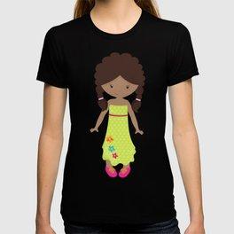 African American Girl, Fashion Girl, Green Dress T-shirt