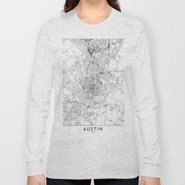 Austin White Map Long Sleeve T-shirt