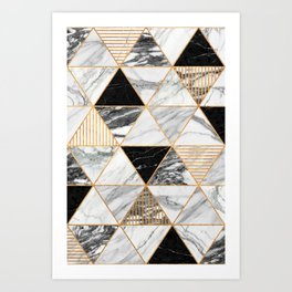 Marble Triangles 2 - Black and White Art Print