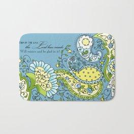 Hand Drawn Paisley Floral, Flower n Leaf Scroll Inspirational Text Bath Mat