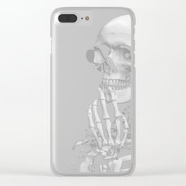 Thinking Skeleton (Black and White) Clear iPhone Case