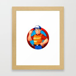 handyman wearing work clothes and a belt with tools. Framed Art Print