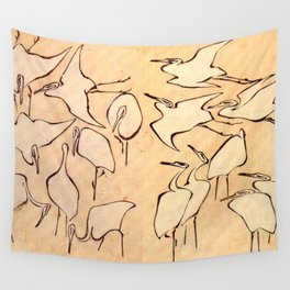 """Katsushika Hokusai """"Cranes from Quick Lessons in Simplified Drawing"""" (1823)(original) Wall Tapestry"""