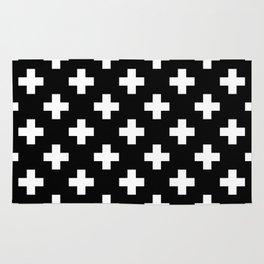 Black & White Plus Sign Pattern Rug