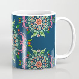 Folk Art Medallions on indigo blue Coffee Mug