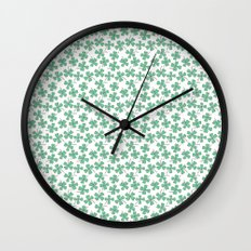 Four Leaf Clovers Wall Clock