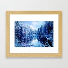 Blue Winter Wonderland : Forest Mirror Lake Framed Art Print