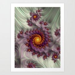 Saffron Frosting - Fractal Art Art Print