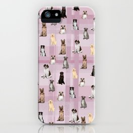 Sit, Smile Large Dogs in Rose iPhone Case