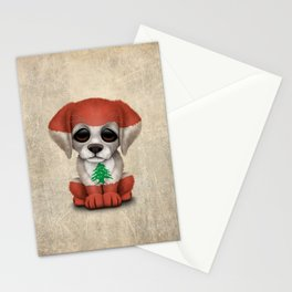 Cute Puppy Dog with flag of Lebanon Stationery Cards