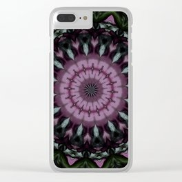 Rose and Jade Mandala Pattern Clear iPhone Case
