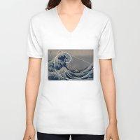 fibonacci V-neck T-shirts featuring Hokusai Meets Fibonacci by Vi Sion