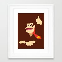 donkey kong Framed Art Prints featuring Donkey Kong - Minimalist - Nintendo by Adrian Mentus