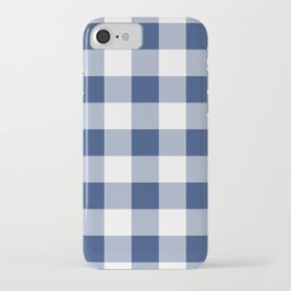 Navy Gingham Pattern iPhone Case