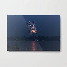 Fireworks Over Lake 17 Metal Print