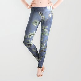 Vincent Van Gogh Almond Blossoms : Steel Blue & Gray Leggings
