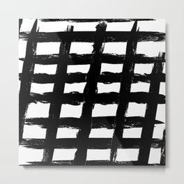 Black And White Modern Paint Lines Metal Print
