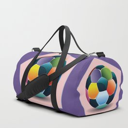 Soccer ball inside pink pentagon Duffle Bag