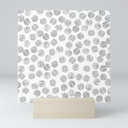Trendy black white hand drawn polka dots pattern Mini Art Print