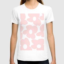 Large Baby Pink Retro Flowers on White Background #decor #society6 #buyart T-shirt
