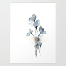 Blue grey florals Art Print
