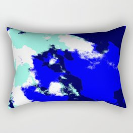 Ichiho - Abstract Blue Batik Camouflage Tie-Dye Style Pattern Rectangular Pillow