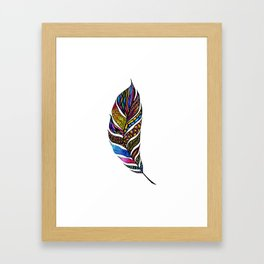 Colorful Watercolor Hand Drawn Tangle Feather Framed Art Print