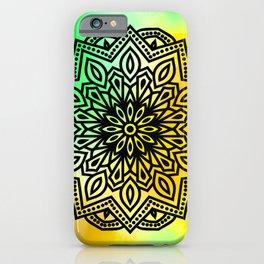 ombre mandala yellow green iPhone Case