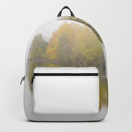 Tree reflections in a lake Backpack