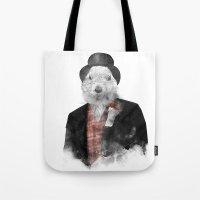phil jones Tote Bags featuring Mr. Phil by Robert Farkas
