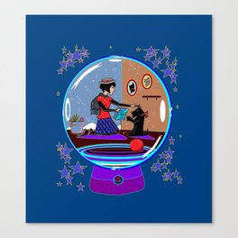 Snow Globe of Girl with Scotty Dog Canvas Print