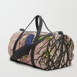 Blue Pigeon Pink Wall Bare Tree Duffle Bag