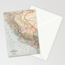 Vintage Map of Peru (1901) Stationery Cards