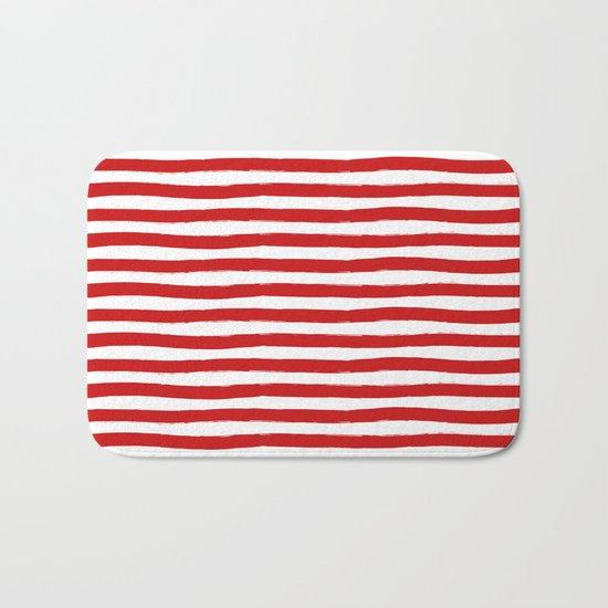 Red Horizontal Stripes Bath Mat