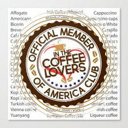 Coffee Lovers of America Club by Jeronimo Rubio 2016 Canvas Print