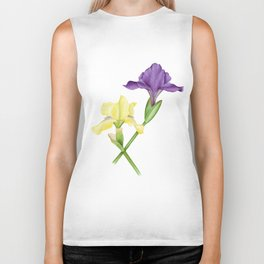 Watercolor irises Biker Tank