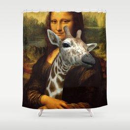 Mona Lisa Loves Giraffes Shower Curtain