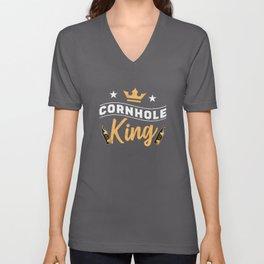 Cornhole King - Corn hole Gift for Men Unisex V-Neck