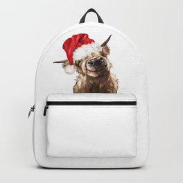 Christmas Highland Cow Backpack