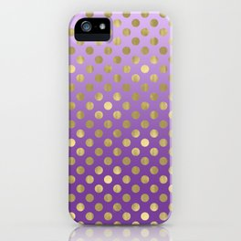 Purple Ombre Gold Dots iPhone Case