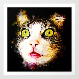 norwegian forest cat omg splatter watercolor Art Print