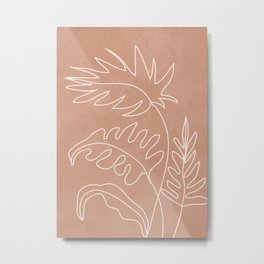 Engraved Plant Line Metal Print