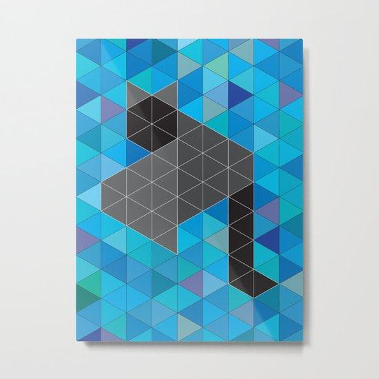 Black kitten in a sea of Triangles Metal Print