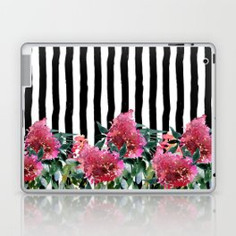 Black white brushstrokes pink watercolor floral stripes Laptop & iPad Skin