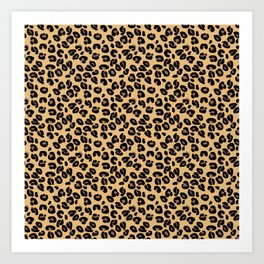 Classic Black and Yellow / Brown Leopard Spots Animal Print Pattern Art Print