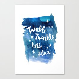 twinkle, little, star, blue, watercolor, night sky, nursery, childrens room Canvas Print